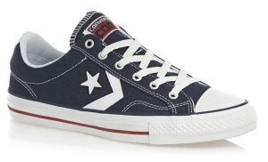 Converse navy trainers are perfect for a mens casual look