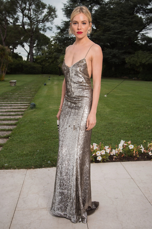 Sienna Miller wearing a Ralph Lauren Collection dress
